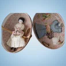 Antique China Doll with Egg Case of Accessories, Western Germany, Hertwig China