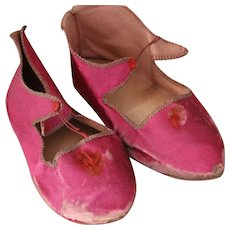 Antique Doll Shoes, Marked 4 and HH in a Heart,Red Silk Doll Shoes Antique Shoes