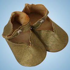 Gold Doll Shoes, Vintage Doll Shoes Vintage Gold Center Snap Doll Shoes 3 1/4 IN