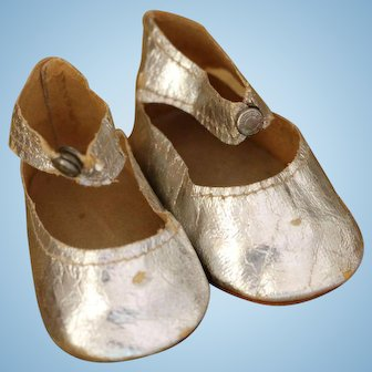 Silver Doll Shoes, Silver Metallic Foil Doll Shoes, Vintage Doll Shoes, 3 IN