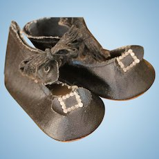 Black Doll Shoes, Antique Black Doll Shoes, 3 IN, Antique Doll Shoes, Buckles