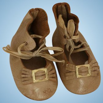 Doll Shoes, Tan Kid Leather Doll Shoes, 2 3/4 IN Replica Doll Shoes Antique Doll