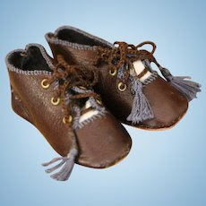 Doll Shoes,Brown Kid Leather Doll Shoes, Artist Made Doll Shoes, Ella's 2 1/2 IN