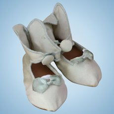 Silk Doll Shoes, Replica Silk Doll Shoes, 2 7/8 IN, Silk Shoes For Antique Doll