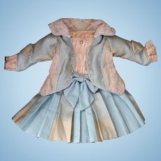 Silk Doll Dress for Antique French Doll Artist Made Silk Dress w Jacket for Doll