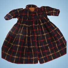 Antique Wool Plaid Doll Dress or Coat 1880's Antique Doll Dress