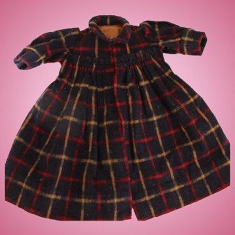 Antique Wool Plaid Doll Dress or Coat 1880's Antique Doll Dress