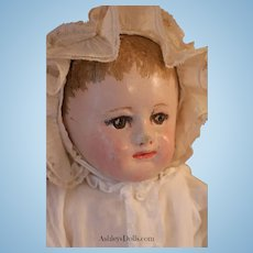 Antique Martha Chase Cloth Doll, 16 IN, Applied Ears Ca. 19th Century Cloth Doll