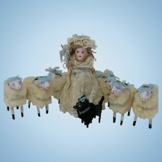 Antique SFBJ Unis France 301 Doll with Sheep, Antique French Doll Little Bo Peep