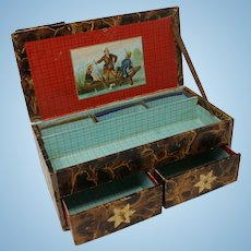 Antique Gentleman Doll Trunk with Drawers, Victorian Scrap Antique Doll Trunk