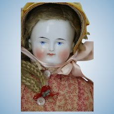 Antique Conta & Boehme German China Bald Head Doll 19 IN Original Mohair Wig