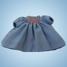 Vintage Dress for Antique Doll, Hand Smocked and Sewn Cotton Doll Dress