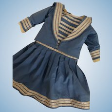 Two Piece Cotton Doll Dress for Antique Doll, Antique Doll Dress, Sailor Style