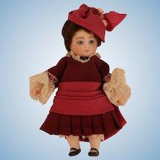 Nada Christensen Artist Doll 4 IN Replica doll in Silk Costume, Signed Nada 1987