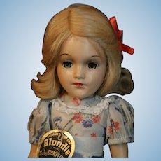 "Vintage Knickerbocker ""Blondie"" Dagwood Composition Doll 14 1/2 IN King Features"