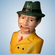 Vintage Composition Dick Tracy Doll w Pull String Mouth, 13 IN, 1940's