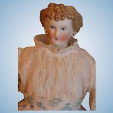 Antique Countess Dagmar Parian Doll Cafe Au Lait Curls 16 IN 1860s Pierced Ears