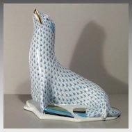 Herend Seal Porcelain Figurine - Large with Blue Fishnet