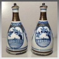 Pair Kutani Tokkuri or Sake Bottles  - Showa Period