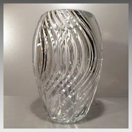 Val St. Lambert Tall Ribbed Clear Vase