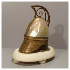 French Mother Of Pearl and Brass Helmet - Scent Bottle Holder