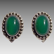 Georg Jensen Sterling and Chrysoprase Pair of Earrings