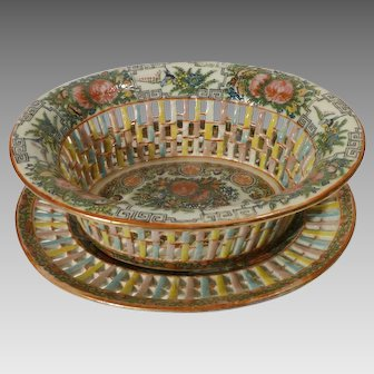 Chinese Export Famille Rose Chestnut Basket