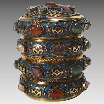 Chinese Silver and Vermeil Trinket or Keepsake Box with 3 Bangles
