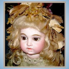 Magnificent French Bru Jne 5 - early rare circle dot / bru jne trans. doll - Original silk costume + trousseau!