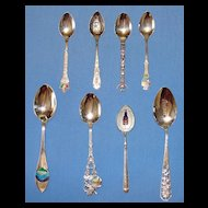 Set of 8 vintage sterling silver souvenir spoons - Canadian cities