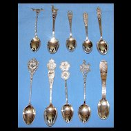 Set of 10 vintage sterling silver souvenir spoons