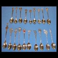 19 various antique & vintage Continental 800 & 900 (old sterling) silver souvenir spoons