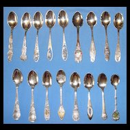 Vintage Collection: 17 sterling silver U.S. cities souvenir spoons