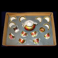 Antique 16 pc hand-painted porcelain German child's tea set in original box!