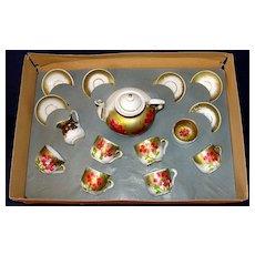Antique 16 pc hand-painted porcelain German child's tea set in original box!