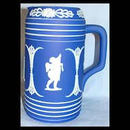 Early Wedgwood dark blue Jasper ware jug / pitcher with cherubs