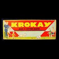 "Vintage American Game: 1937 ""Krokay"" (Croquet) multi game w/ ORG. box"