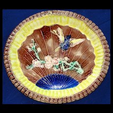 Antique Majolica Warble Bird and Fan Platter