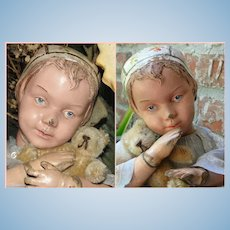 Ultra Rare Antique Carved Schoenhut Bonnet Character Girl Doll- All Original paint! Provenance!