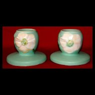 A Vintage Pair of Weller Pottery Candle Holders