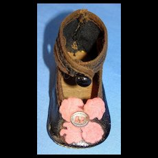 Antique Doll / Bébé Single Shoe with Ankle Strap