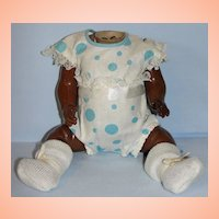 German Antique Composition Black Baby Body with Original Costume