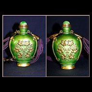 Vintage Asian motif Hobe` Necklace with Snuff Perfume Bottle -  Original Box!