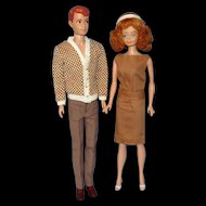 1960's Allan And Midge Dolls with Wardrobe