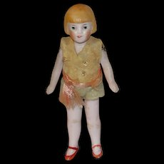 Wonderful 1920's All Bisque Wire Jointed Miniature Flapper Doll