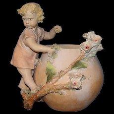 Rare and Unique! Antique European Terracotta Child figure by flower pot: probably Austrian