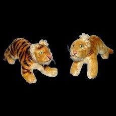 Vintage 1950's Steiff Tiger and Lion Cubs