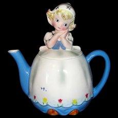 Adorable Vintage 1960's Lefton Dutch Girl Teapot - Beautiful!