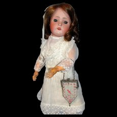 Dainty Enameled Mesh Child's Purse with Bird -  Perfect for display with Antique Bisque Dolls!