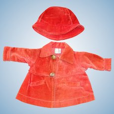 "All Original 1930's Tagged  Coat & Hat for 18"" Composition Shirley Temple Doll"